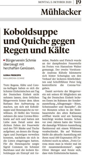 Pforzheimer Zeitung vom 5.10.2020